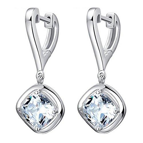 Pendientes de mujeres - TOOGOO(R)pendientes del aro plateados de plata para mujer y chica con joya de piedra de CZ