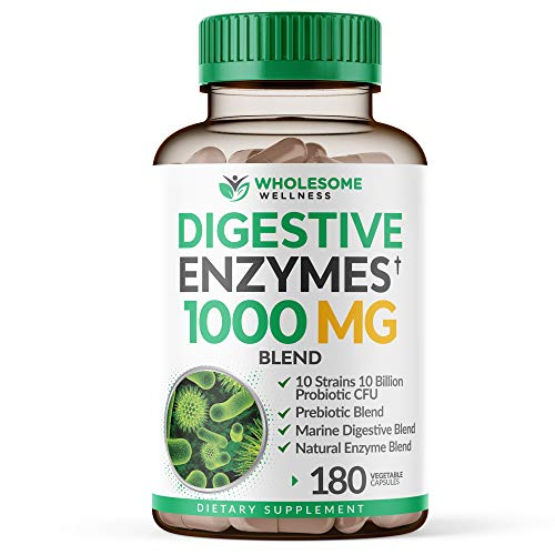 Digestive Enzymes 1000MG Plus Prebiotics & Probiotics Supplement, 180 Capsules, Organic Plant-Based Vegan Formula for Better Digestion & Lactose Absorption with Amylase & Bromelain, 1-2 Month Supply