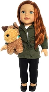 Newberry 18 Inch Doll Amelia - with Red Hair, Blue Eyes and Pet - 2 Piece Bundle