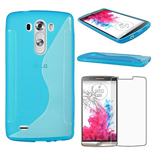 ebestStar - Funda Compatible con LG G3 D855 Carcasa Gel Silicona Gel TPU Motivo S-línea, S-Line Case Cover, Azul + Cristal Templado Protector Pantalla [Aparato: 145.5 x 74.6 x 9.1mm, 5.5'']