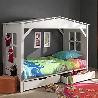 Paris Prix - Lit Enfant cabane Home & 2 Tiroirs De Lit Blanc