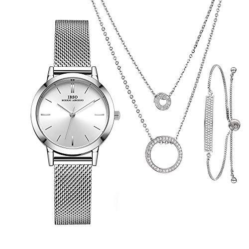 IBSO Mujer Relojes Conjunto para Mujeres Regalos para Mujeres Madres Esposa Reloj Pulsera Collar Brazalete Cuarzo Relojes de Pulsera (3630 SR SL007 XL005)