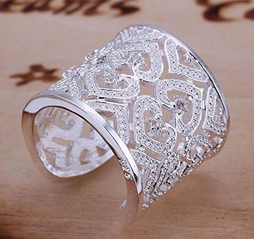 ARMAC Anillo chapado en plata con circonita abierta para mujer con forma de corazón y diamantes