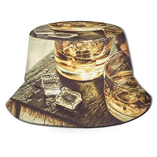 Sombrero de Pescador Unisex Whisky con Hielo en Vasos de Madera rústica Espacio de Copia de Fondo Plegable De Sol/UV Gorra Protección para Playa Viaje Senderismo Camping
