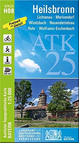 ATK25-H08 Heilsbronn (Amtliche Topographische Karte 1:25000): Lichtenau, Merkendorf, Windsbach, Neuendettelsau, Rohr, Wolframs-Eschenbach: Rad-. und ... Amtliche Topographische Karte 1:25000 Bayern)