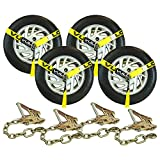 VULCAN Car Tie Downs with Chain Anchors - Lasso Style - 2 Inch x 96 Inch, 4 Pack - Classic Yellow - 3,300 Pound Safe Working Load