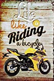 MI RINCON Cuadro de Madera Vintage Life is Like Riding a Bicycle, 30x20 cm