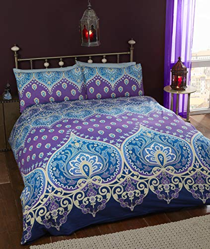 Rapport Saphire Indian Design Duvet Quilt Cover and 2 Pillowcase Bed Set, Polyester-Cotton, Sapphire, Double