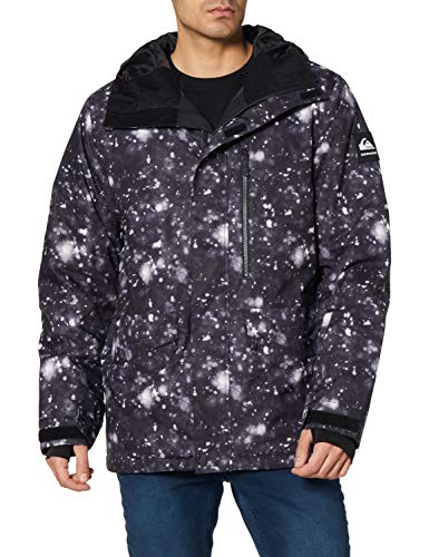 Quiksilver Mission Printed - Chaqueta Para Nieve Para Hombre Chaqueta Para Nieve, Hombre, true black woolflakes, XL
