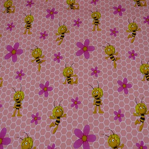 Biene Maja Jersey, Waben, Blumen, rosa (25cm x 150cm)