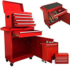 Rolling 5 Drawer Large Tool Boxes Tool Chest, Garage Cabinets Organizers with Wheels Tool Storage Improvement Organization Mobile Work Bench for Home Indoor (Red)
