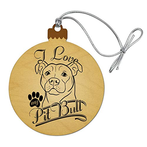 GRAPHICS & MORE I Love My Pit Bull Wood Christmas Tree Holiday Ornament