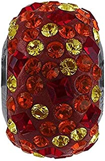 SWaROVSKI pave Medley Bead Multi Color Light Siam, Light Topaz Becharmed 14 mm-9.30 mm