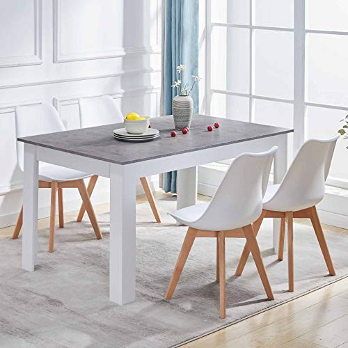 OFCASA Dining Table and Chairs Set of 4 Wood Dining Table and 4 White Plastic Dining Chairs with Faux Leather Padded Seat 4-6 Seater for Kitchen Restaurant Office