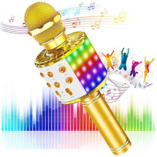SaponinTree Microfono Inalámbrico Karaoke, Micrófono Karaoke Bluetooth Portátil con Altavoz con Luces de Baile LED para Niños Canta Partido Musica Reproductor (Gold)