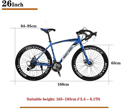 Road Bikes PLYY 26-Inch Road Bicycle, 27-Speed Bikes, Double Disc Brake, High Carbon Steel Frame, Road Bicycle Racing, Men's And Women Adult-Only