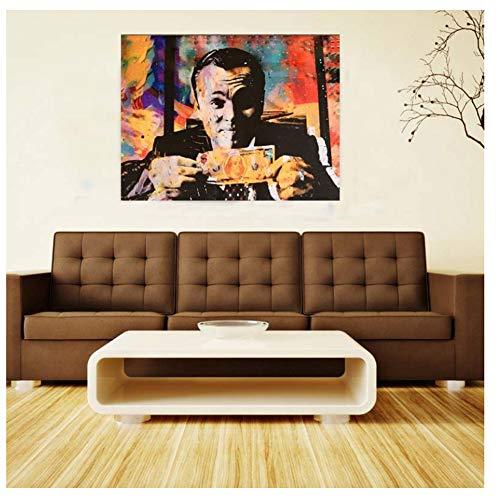 nr Nórdico El Lobo de Wall Street Dinero Decoración Abstracta Pintura Lienzo Pintura Murales Película Poster Wall -50x70cm sin Marco