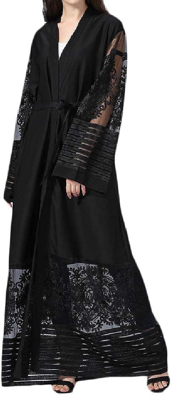 Joe WenkoCA Womens Mesh Gown Abaya Elegant Muslim Gown Embroideried Maxi Dress
