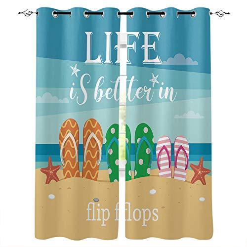 Verdunkelungsvorhänge mit silberfarbenen Ösen, Life Is Better at the Beach, Thermoisoliert, Verdunklungsvorhänge für Schlafzimmer/Glasschiebetür, Dekoration, 2 Paneele, 203 x 213 cm (B x H)