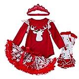 Cuteelf Mädchen Weihnachten Langarm Netze Sterne Tutu Rock Dreiteilige Mädchen Thanksgiving Overall Tops Tutu Kleid Stirnband Komfortables Set