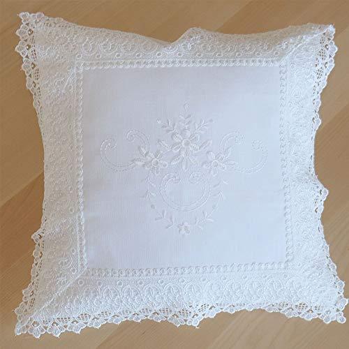 matches21 - Funda de cojín (poliéster, 40 x 40 cm, con bordado, dobladillo y punta), color blanco