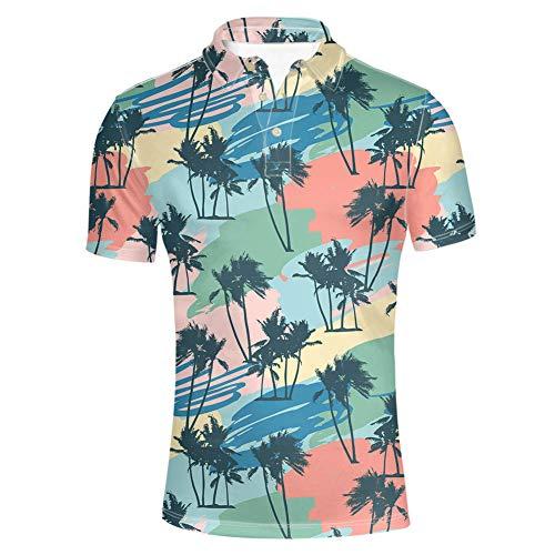 HUGS IDEA Herren Poloshirt Kurzarm Landkarte Muster Casual T-Shirt Gr. M, Hawaii-Stil 3