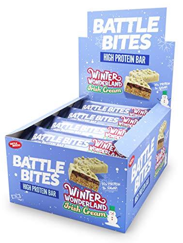 Battle Bites High Protein Bar, 12 x 62 g Low Carb Protein Bars - Winter Wonderland Irish Cream