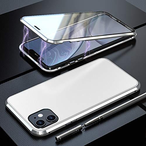 ZHANGYOUDE A Prueba de Golpes de Cuero magnética de atracción Tablero Funda Protectora del Cristal Templado (Color : Silver)