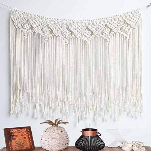 """Kiido Macrame Wall Hanging, Hanging Wall Tapestry Large Bohemian Wall Decoration Macrame Curtain fringe Backdrop Wall Decor for Wedding Living Room Bedroom Gallery, 38""""x 33"""""""
