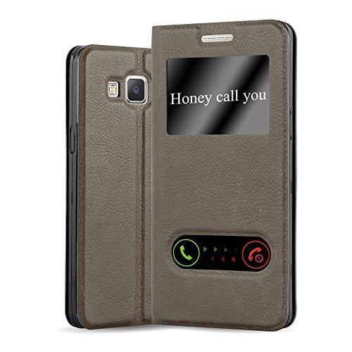 Cadorabo Funda Libro para Samsung Galaxy A5 2015 en MARRÓN Piedra - Cubierta Proteccíon con Cierre Magnético, Función de Suporte y 2 Ventanas- View Case Cover Carcasa