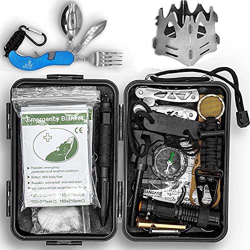 BOCK 2005 Survival Kit Überlebensset Überlebensausrüstung Überlebenspaket | Prepper Ausrüstung + Tactical Pen, Survival Armband, Kompass Outdoor, Feuerstein Survival Feuerstahl Paracord Bushcraft