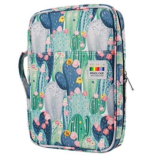 YOUSHARES Colored Pencil Case 166 Slots Pen Case Organizer With Handy Wrap & Zipper, Multilayer Holder for Prismacolor Colored Pencils & Gel Pen (Cactus)