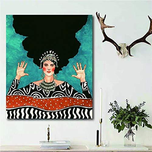 Pintor turco chica con las manos abiertas imagen imagen cartel de la pared estilo moderno impresión de la lona pintura pasillo del arte sala de estar decoración única pintura de la lona sin marco