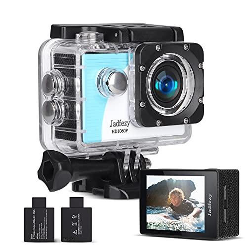 Jadfezy Action Cam 1080P FHD, Unterwasserkamera wasserdicht bis 30M , Sportkamera mit 140 Grad Weitwinkel, zwei 900 mAh wiederaufladbare Akkus und Zubehör-Set