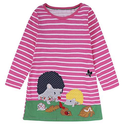 Kleine Meisjes Katoen Streep Prinses Feestjurk Meisje Leuke Lange Mouw Paard Bloemenprinten Swing Jurken Mode Crewneck Jurken Kleding 110-120cm Pink Hedgehog
