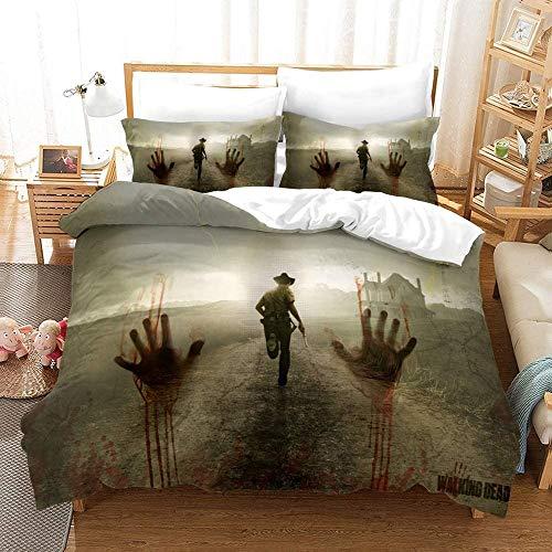 SL-YBB The Walking Dead Bettbezug Bettwäsche Set - Bettbezug und Zwei Kissenbezug,Mikrofaser,3D Digital Print dreiteiliger Bettwäsche (Q08,Single 135x200cm)