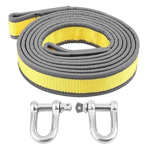 EBTOOLS Cinturón de Remolque de Servicio Pesado de Hasta 8 Toneladas, Cuerda de Rescate de 4 Metros de Longitud con Dos Ganchos en forma de U