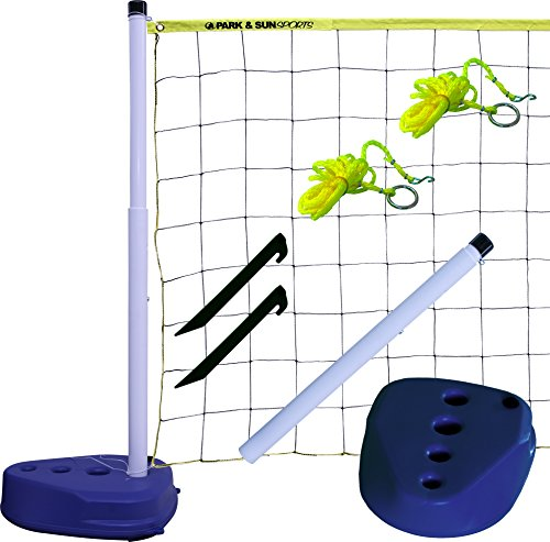 Park & Sun Sports Portable Indoor/Outdoor Swimming Pool Volleyball Net System, Blue, 24' W x 3' H
