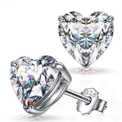 925 Sterling Silver Stud Earrings, Sparkly Cubic Zirconia from Swarovski Christmas Jewelry Gift for Women Girls, Comfortable for Sensitive Ears, 6MM