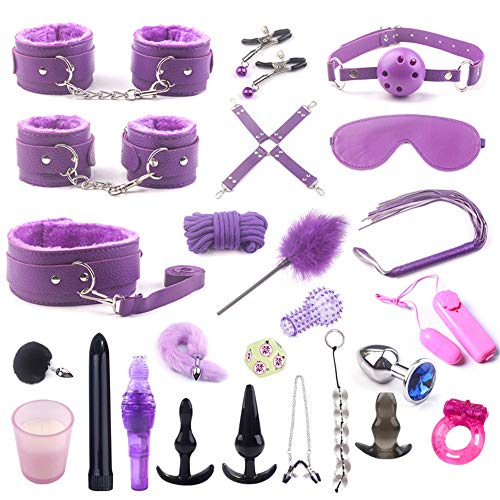 Juego de juguetes B`D`S`M de felpa de cuero ajustable Kit de noche romántica para parejas (25Pcs)