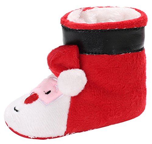 Y-BOA Pantoufle Chausson Fourrure Slippers Déguisement Noël Père Rouge Bottes De Neige Bébé Fille Garçon Semelle 11cm