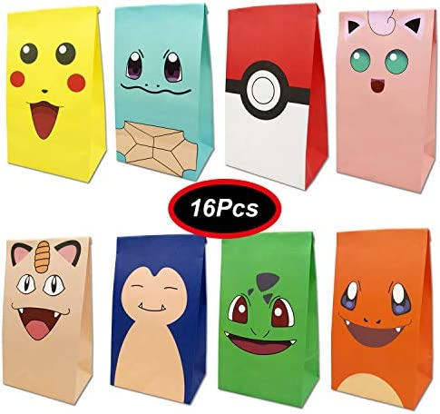 Pikachu Theme Goodie Gift Bags Made of Paper for Kids Boys Gaming Themed Birthday Party Set product image