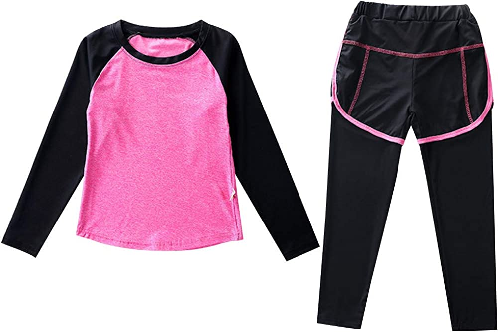 amropi Girl's Base Layer Athletic Compression Leggings and Shirts Thermal Underwear Clothes Set Age 3-16 Years