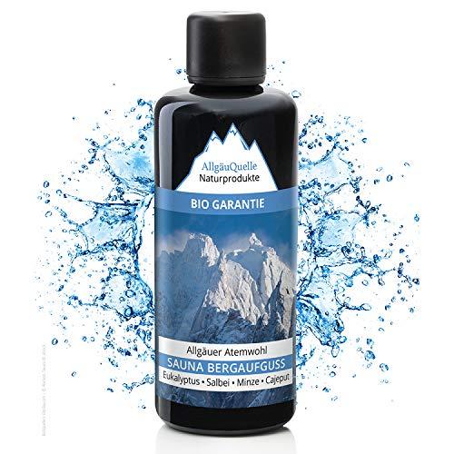 Saunaaufguss mit 100% BIO-Öle Atemwohl Eukalyptus Minze Salbei Cajeput (100ml). Natürlicher Sauna-aufguss m. ätherische Sauna-Öle im Aufguss-Mittel. Saunaöl natrurrein (kba) / Bio-Saunaduft