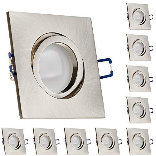 LEDANDO 10er LED Spanndecken Einbaustrahler Set Silber gebürstet 5W DIMMBAR GU10 Deckenstrahler - Spots - Deckspot - 230V
