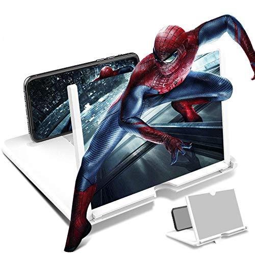 STEBRUAM 12 Zoll Handy Lupe,3D Bildschirm Vergrößerungsglas für das Ansehen von Filmvideos,Faltbarer Handylupe Bildschirm Vergrösserung für alle Smartphones(Weiß)