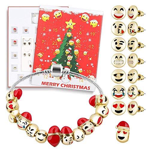 QinMM Schmuck Adventskalender 2019 24 Tage mit Armband Countdown Mädchen, Weihnachtskalender (Gelb + Rot + Silber)
