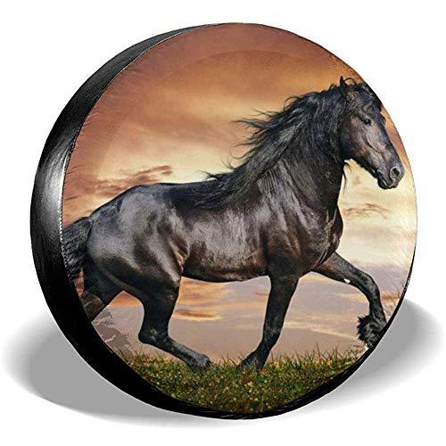 Niet bruikbare Wheel Cover Arabian Black Horse zonwering regenbescherming diameter bandenafdekking voor verschillende aanhangers RV voertuigen SUV 16in/76~79cm 4 X 100 M