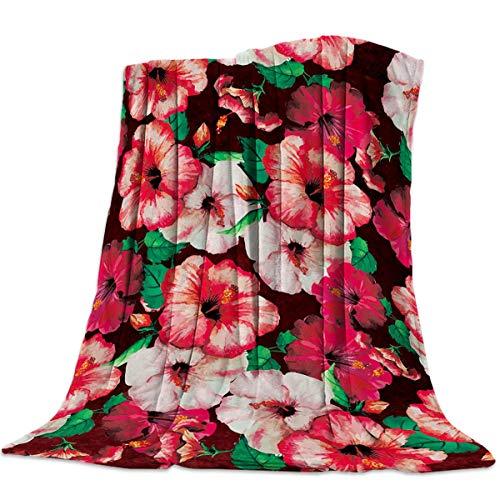 Mantas Para Manta Blanket Flor de acuarela de hibisco rojo Mantas 125X100CM