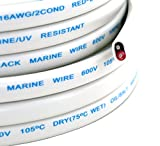 GS Power's 16 Ga (True American Wire Gauge) AWG Tinned Oxygen Free Copper OFC Duplex 16/2 Dual Conductor AC Marine Boat Battery Wire. Cable Length: 100 FT (50 or 200' Options Available)